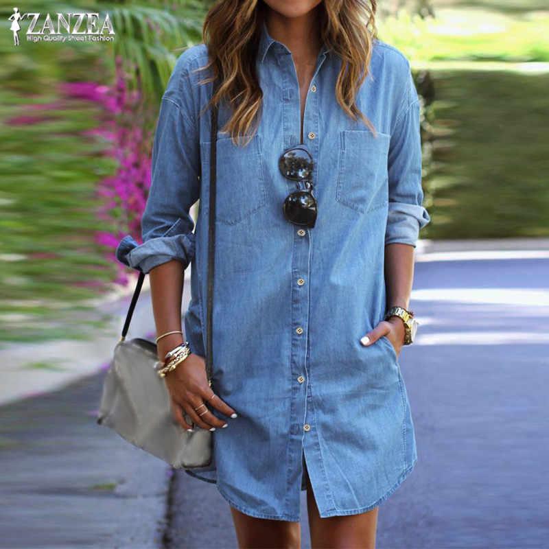 ZANZEA Women Denim Dress 2021 Autumn Casual Loose Long Sleeve Button Shirt Dresses Mini Vestidos Blouse Tops Jeans Plus Size