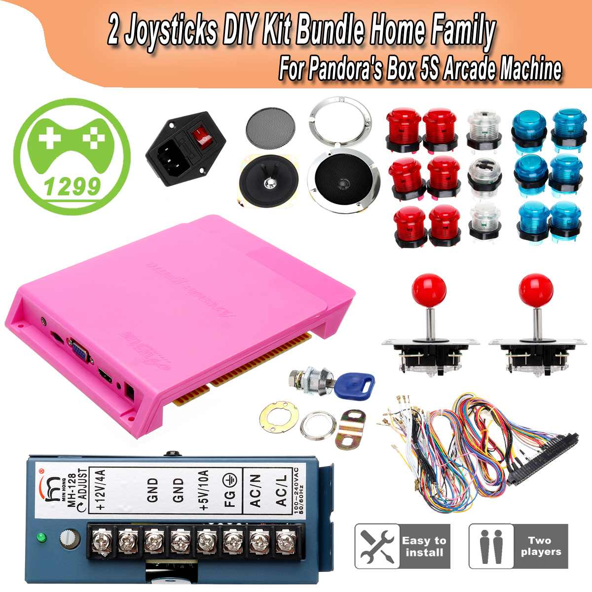 1299 Games Box Arcade DIY Game Box Arcade kit With Jamma Harness Push Button Cables Joystick Power Switch Loudspeaker1299 Games Box Arcade DIY Game Box Arcade kit With Jamma Harness Push Button Cables Joystick Power Switch Loudspeaker