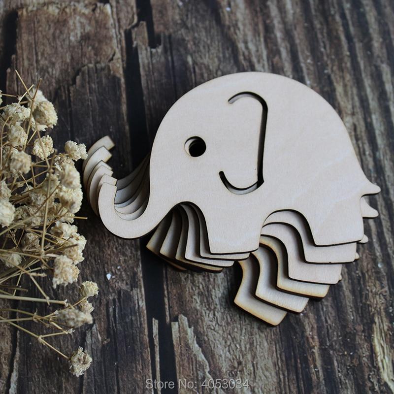 Wood Ornament Embellishment Crafts Scrap Diy Shape Laser Baby Girl Elephant