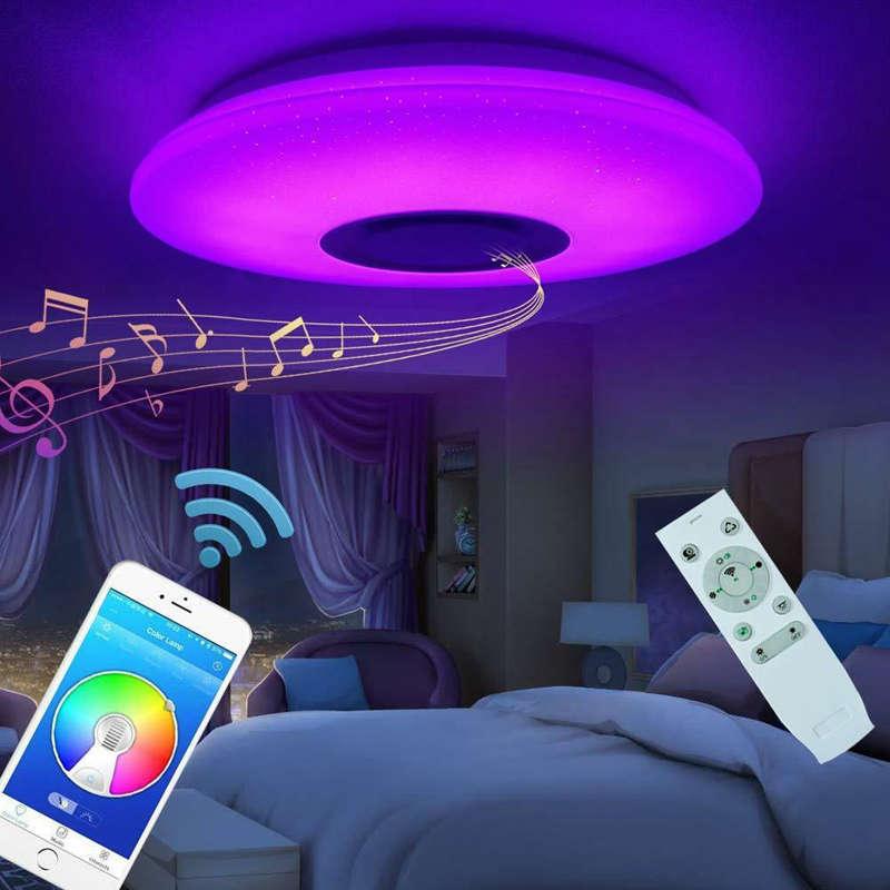 HOT เพลงโคมไฟเพดาน LED 60W RGB Flush Mount รอบ Starlight Music กับลำโพงบลูทูธสีหรี่แสงเปลี่ยน LIGHT