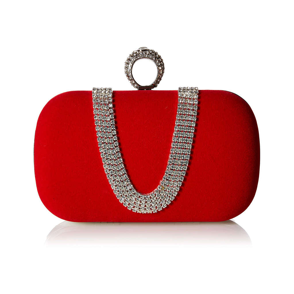 Suede Velvet Rhinestone Stud One Ring Decor Evening Cocktail Clutch Bag
