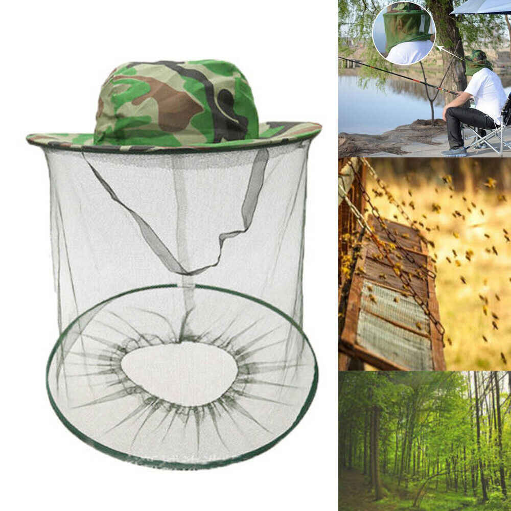 New Mosquito Hat with Head Net Mesh Fishing Beekeeping Hat Tools Camouflage Cap Keeping Insects Bee Flying Face-Protector