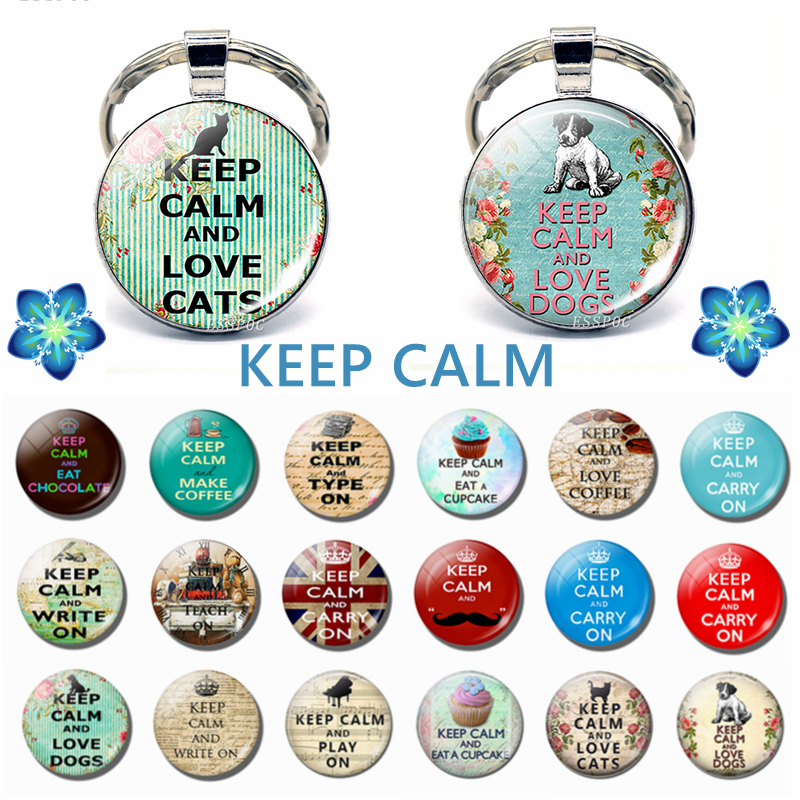 Keep Calm And Carry On Love Cats Dogs Coffee Cupcake Quote Keychain Pendant Glass Cabochon Jewelry Car Key Ring Women Men Gifts