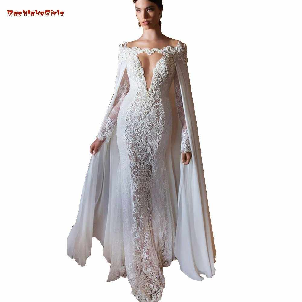 Special Design With Cape White Appliques Lace Evening Dresses Long Women  Formal Gown Evening Gowns Deep 9a233ba82