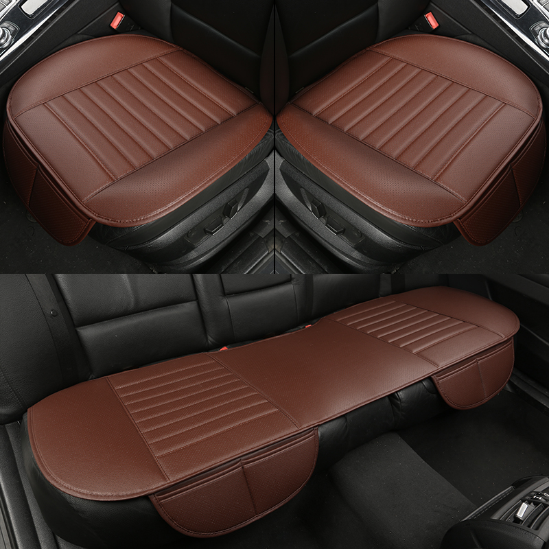 3 Pcs Full Surround PU Leather Charcoal Car Front//Rear Seat Covers Cushion Black