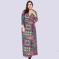 Plus Size XL 6XL Women Ethnic Long Dress Chain Floral Printed Wraparound Deep V Neck High Waist Bandage Casual Dresses Female
