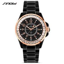 New SINOBI Bling Diamonds Rhinestone Luxury Ceramic-White Style Ladies Dress Watch Women Fashion Wristwatch Gifts