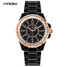 SINOBI Mode Frauen Diamanten Handgelenk Uhren Imitation Keramik Armband Top Luxus Marke Kleid Damen Genf Quarz Uhr 2020