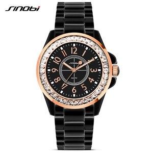 Image 1 - SINOBI אופנה נשים יד יהלומים שעונים חיקוי קרמיקה רצועת השעון למעלה יוקרה מותג שמלת גבירותיי ז נבה קוורץ שעון 2020