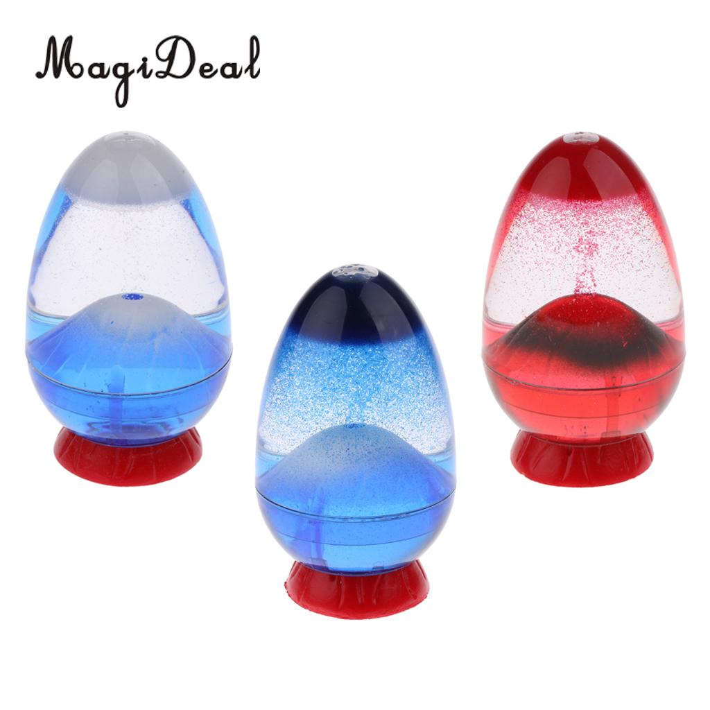 MagiDeal 1Pc Egg Volcano Eruption Liquid Hourglass Sand Timer For Bedroom Kitchen Home Decor Novelty Birthday Gift 3Colors