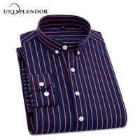 2019 camisas a rayas informales de manga larga para hombre camisa 4XL talla grande de hombre de negocios camisa de vestir Social para hombre Camisas Outwear YN10235