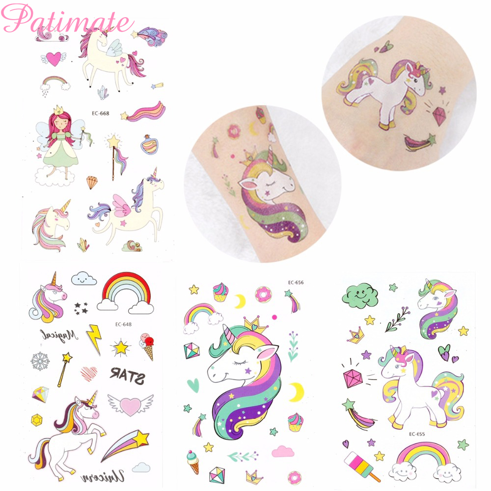 PATIMATE Disposable Tattoo Sticker Unicorn Fairy Temporary For Children  Birthday Part Decoration