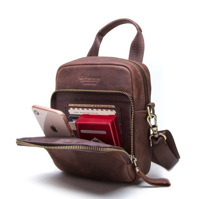 Retro Messenger Men Cow Leather Bags Handbags Flap Messenger Bag Men Shoulder Bag Genuine Leather Small Male Man Crossbody Bag