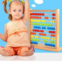 Early Childhood Education Preschool Mathematics Teaching Aids Beech Wooden Ten File Rainbow Counting Shelf Chinese Abacus Toys