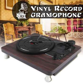 33, 45, 78 RPM Record Player Antigo Gramofone Turntable Disco de Vinil de Áudio RCA R/L 3.5 milímetros Out Saída USB DC 5V Cor de Madeira
