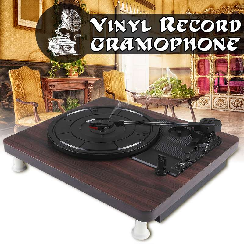 33, 45, 78 RPM Record Player Antique Gramophone Turntable Disc Vinyl Audio RCA R/L 3.5mm Output Out USB DC 5V Wood Color