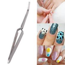 1pc Nail Art Acrylic Gel Picking Tool Rhinestones Gem Decor Black Eyelash Tweezers Anti-static DIY Stainless Steel Hand Clip(China)