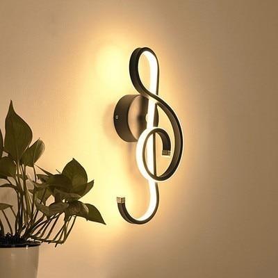 LED applique murale en Aluminium noir/blanc symbole de musique art appliques murales pour la maison salon chambre couloir décoration lampes