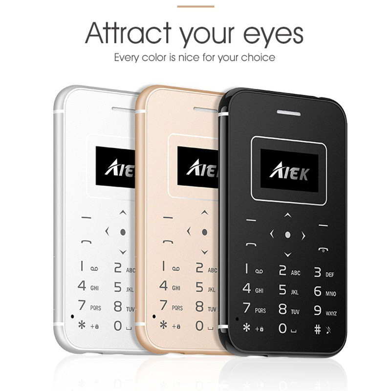 AIEK X8 Ultra Slim Credit Card Phone With Torch Pocket Mobile Supper Mini Phone Simply Calculator Cell Phone Free Camera BT 3.0