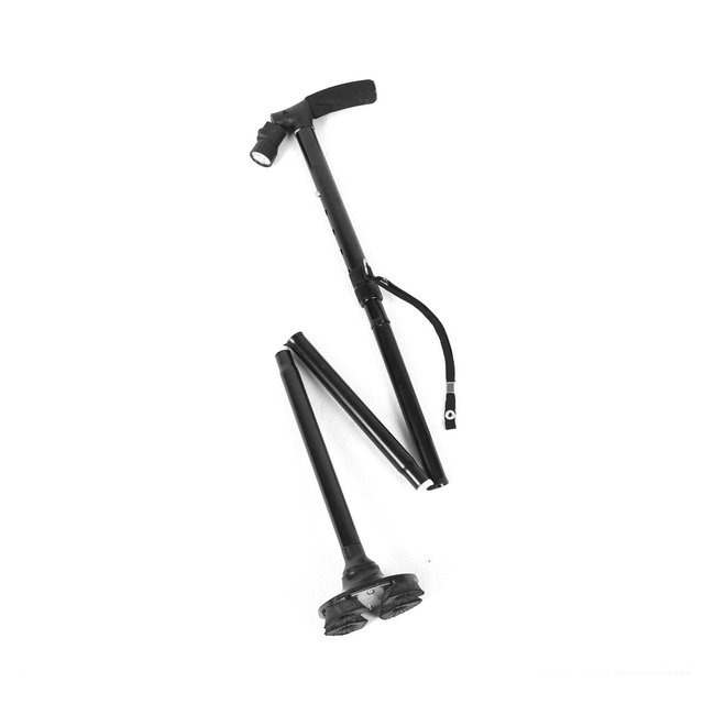 Walking Sticks For Hiking Stick for Walking Pivoting Quad Base Folding Cane with Adjustable LED Light and Cushion Handle