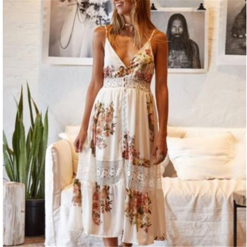 <font><b>Frauen</b></font> Boho Casual lange Maxi Abend Party Cocktail Strandkleid Sommerkleid Fashion <font><b>Sexy</b></font> V-Neck <font><b>Dress</b></font> image