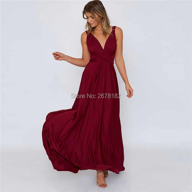 Women Multiway Wrap Convertible Bandage Long Dress with Boho Maxi Infinity Robe Longue Femme for Party Bridesmaids