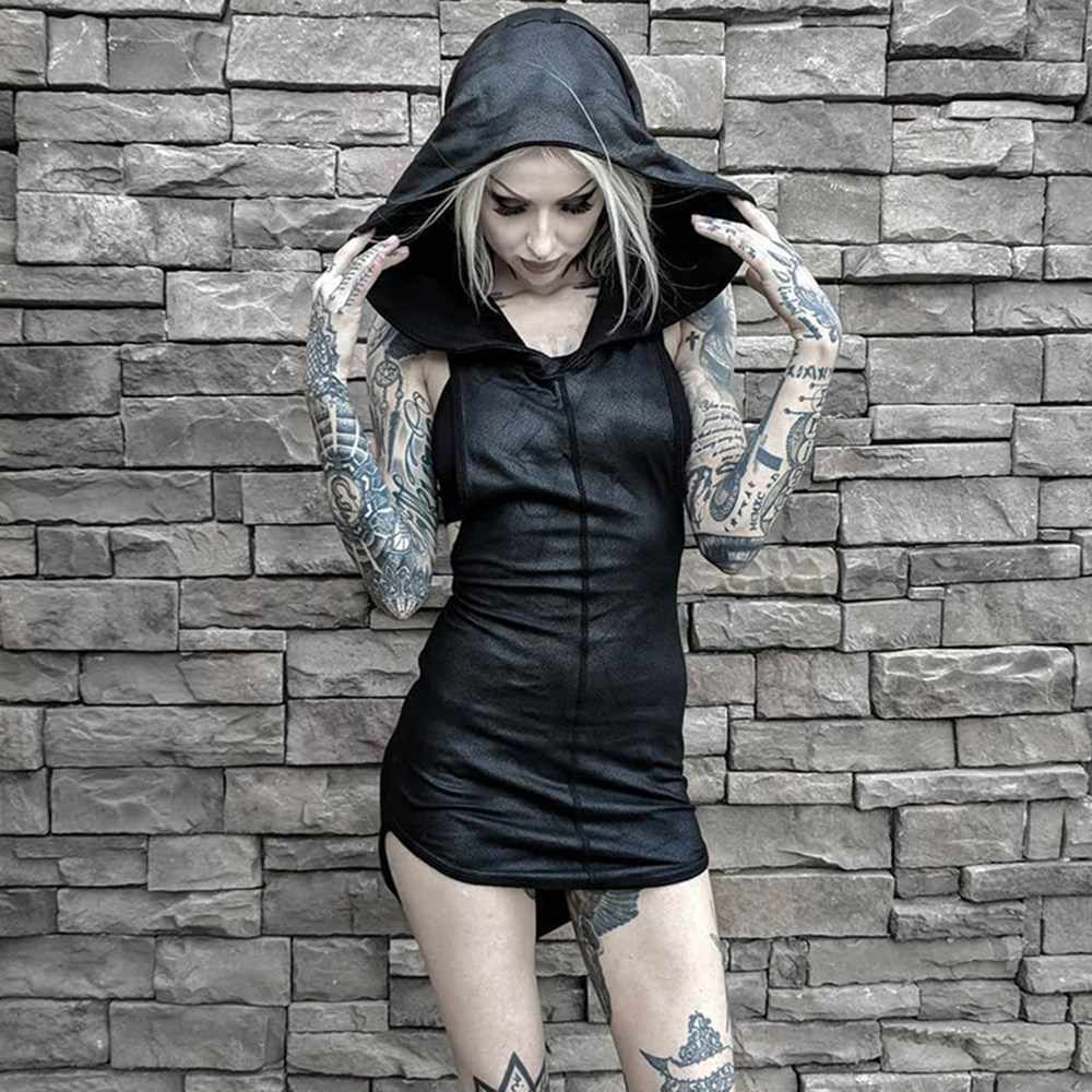 Rosetic Vrouwen Mini Jurken Black Sexy Chic Gothic Bodycon Hooded Plain Asymmetrische Split Vrouwelijke Party Punk Korte Club Jurken