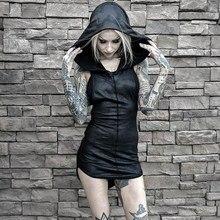 Rosetic Women Mini Dresses Black Sexy Chic Gothic Bodycon Hooded Plain Asymmetric Split Female Party Punk Short Club