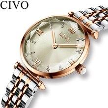 CIVO Fashion zegarek dziewczęcy luksusowy kryształ srebrna stalowa sukienka damska zegarki wodoodporna damska bransoletka zegarek zegar dla kobiety