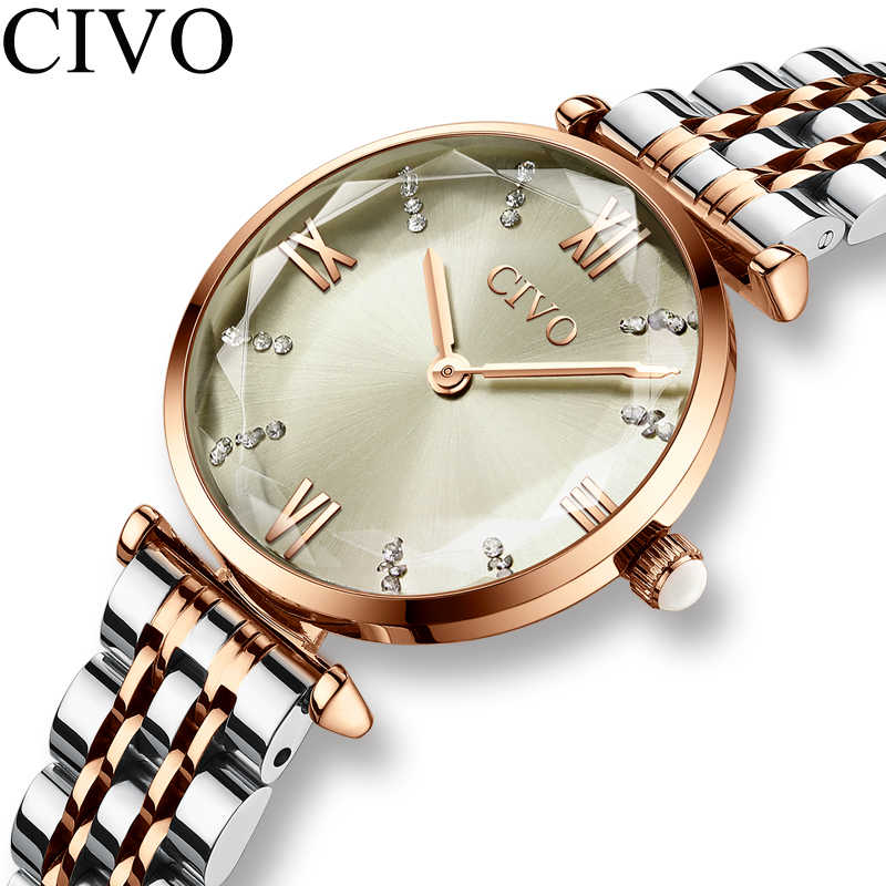 CIVO אופנה ילדה שעון יוקרה קריסטל כסף פלדה שמלת גבירותיי שעונים עמיד למים נשים צמיד שעוני יד שעון לאישה