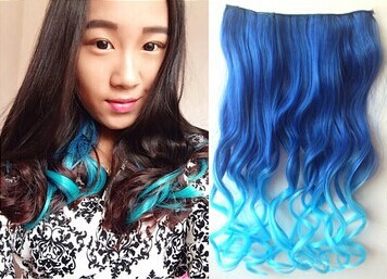 Party ombre dip dye color clip in hair extension 45 50cm dark blue more colors available solutioingenieria Images