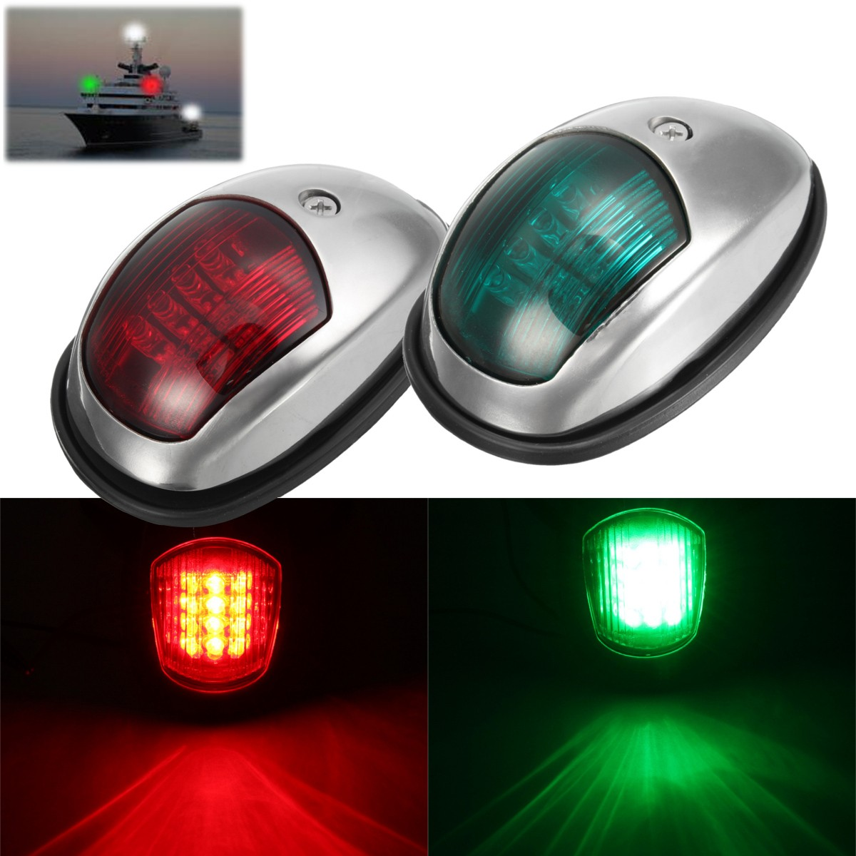 Paire 12 V LED lampe de Navigation Marine côté bâbord & tribord lumière pour bateau lustre/bateau/Yacht acier inoxydable 104*64*39mm