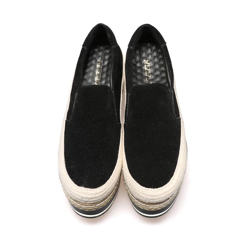 Creeper Sur Femme Chaussures Mode Cuir Femmes Véritable Espadrilles Plate Daim forme Appartements Glissent En Black tEwqSFTnU
