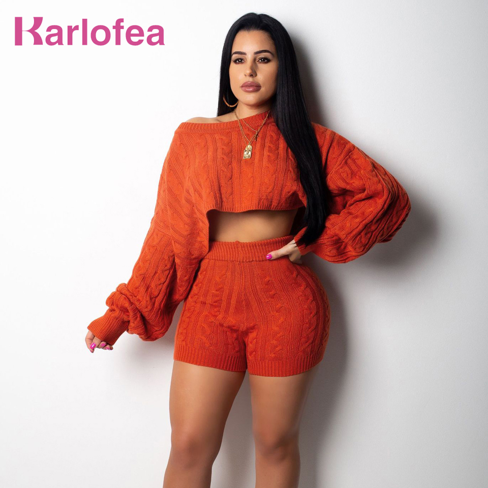 754f54d297e Detail Feedback Questions about Karlofea Autumn Women Chic Two Piece Set  Knitted Crop Pullovers Sweater And Shorts Sexy Party Wear Suit Office Lady  2018 ...