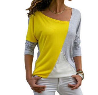Women Clothing Loose Long Sleeve Cotton Casual Blouse Shirt Pactchwork Tops Fashion Blouse