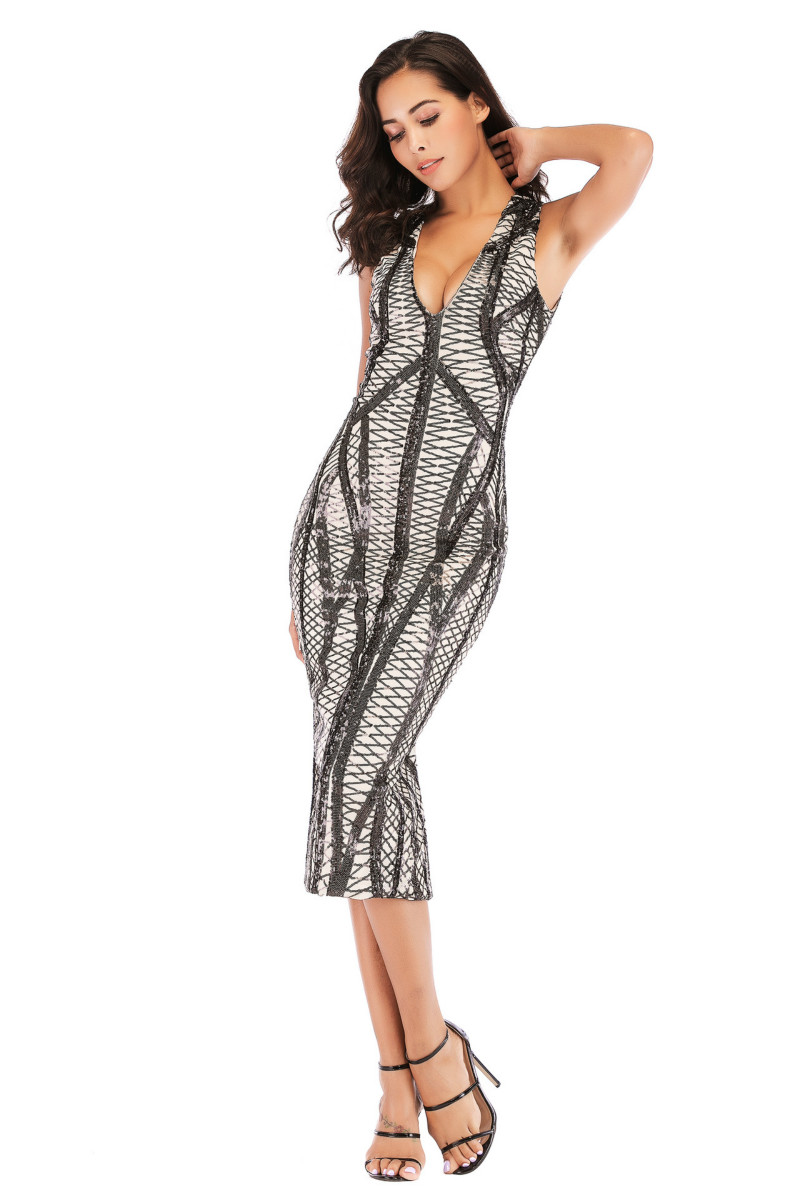 Ruoru Sexy Sequin V Neck Spring Party Dress Women Backless Lady Bodycon Dress Vestidos Festa Bandage Dress Black gold Club in Dresses from Women 39 s Clothing
