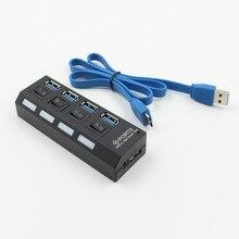 4 porta Micro USB Hub USB 2.0 Divisor de Alta Velocidade de 480 Mbps USB 2.0 Hub LED Com ON/OFF interruptor Para Tablet Computador Portátil Notebook
