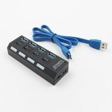 4 puertos Micro USB Hub 2,0 divisor USB de alta velocidad 480 Mbps USB 2,0 Hub LED con encendido/apagado interruptor para tableta portátil ordenador portátil
