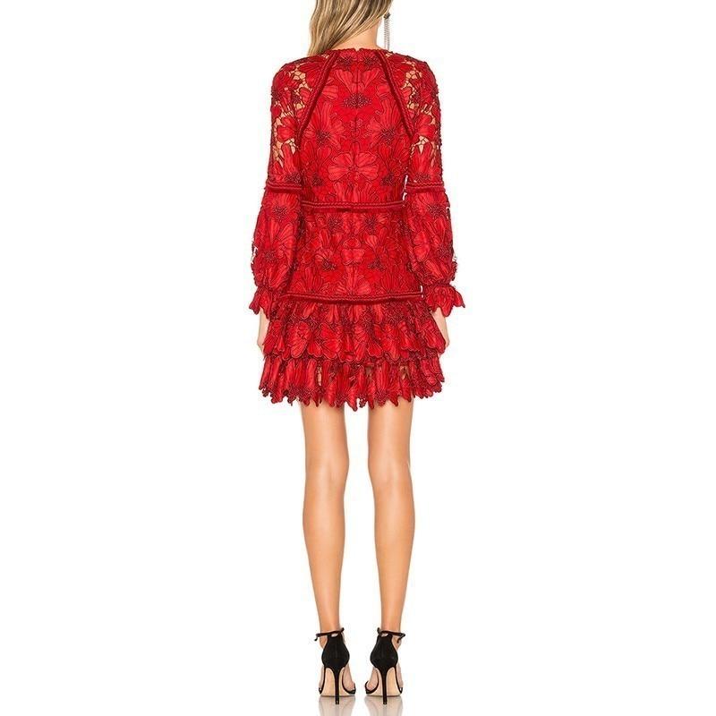 O Distributeur Cou Vgh Ourlet Perspective Marée Nouvelle Nourriture De Vintage Printemps Lanterne 2019 Red Vêtements Évider Femmes Mince Women'fashion Rouge wSFWzq8XS