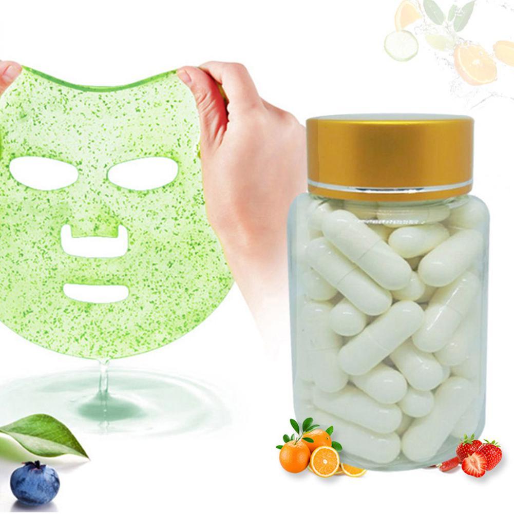 50pcs Capsule Mask Powder Collagen Protein Face Skin Care Mask Bioactive Peptides Crystal Rejuvenation Shrink Pore Mask