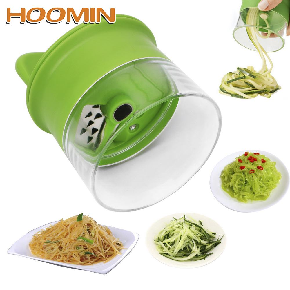 HOOMIN Carrot Cucumber Grater Spiral Blade Cutter Vegetable Fruit Spiral Slicer Salad Tools Zucchini Noodle Spaghetti Maker(China)