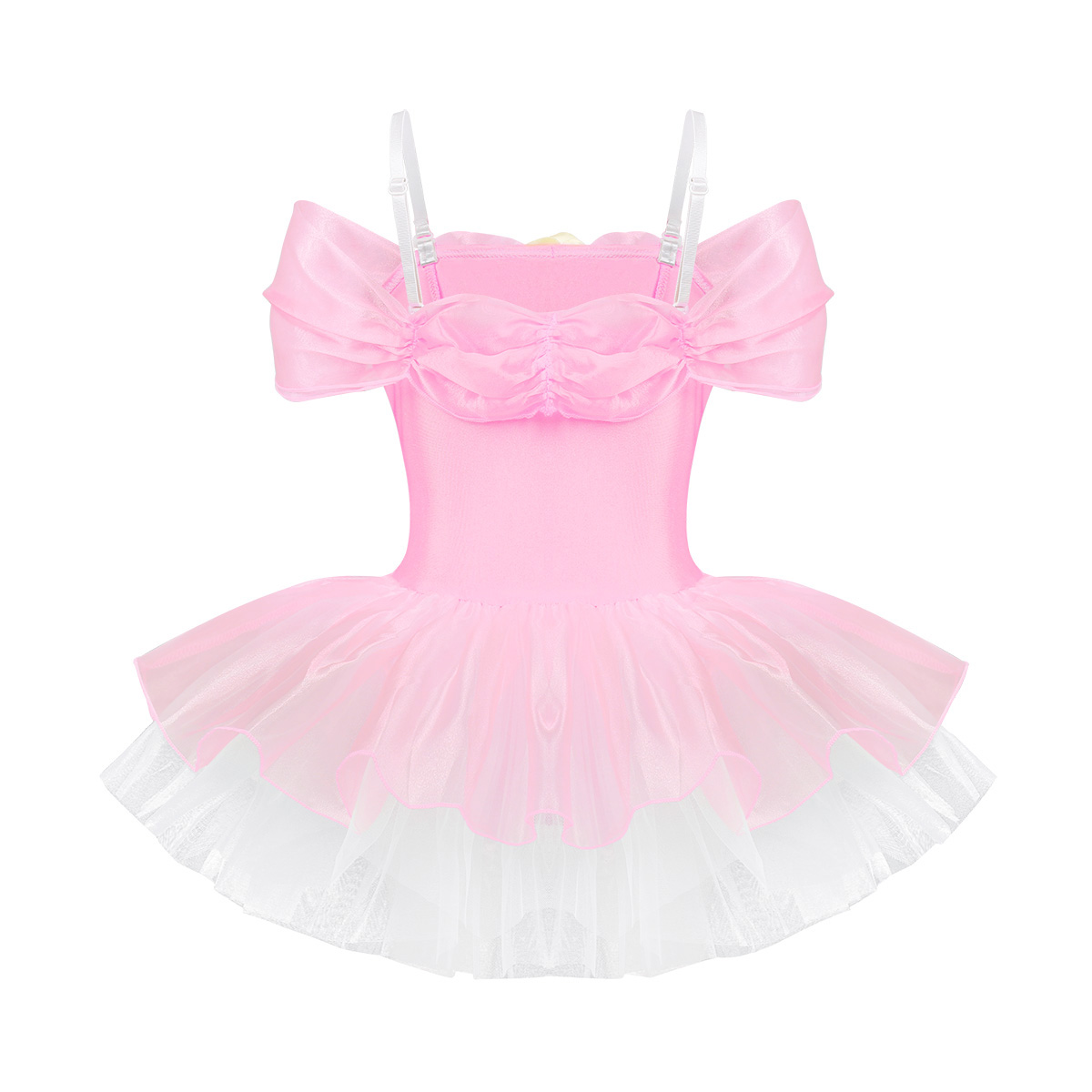 Image 3 - iiniim Kids Ballerina Shoulder Straps Off Shoulder Design 3D Flowers Ballet Dance Wear Gymnastics Leotard Girls Tutu DressBallet   -