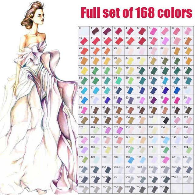 Touchfive Single Art Marker 168 Colors Dual Head Alcohol Based Sketching Markers Manga Drawing Brush Pen School Paint Supplies