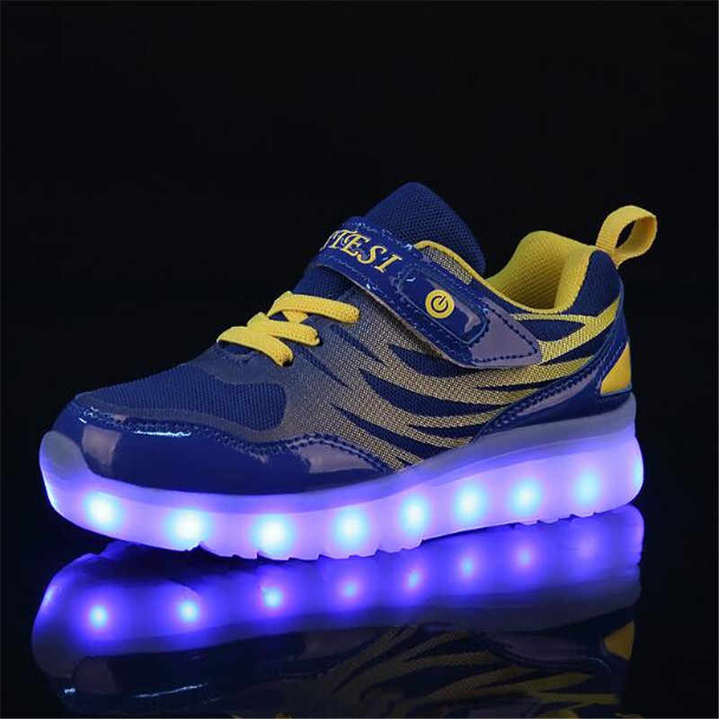 New Children Light shoes LED Glowing USB Charging Luminous Sneakers Boys Girls Shoes Mesh Casual Sports Flats Kids Baby 02B