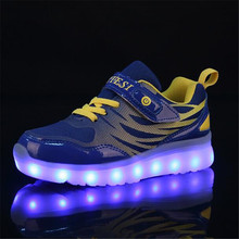 New Children Light shoes LED Glowing USB Charging Luminous Sneakers Boys Girls Shoes Mesh Casual Sports Flats Kids Baby 02B 2017 new baby kids 7 color led light sneakers girls boys usb charge luminous shoe children sports running shoes size 25 37