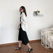 The Spring and Summer Return to Ancient Times in 2019 contracted show thin vest dress White is prevented bask shirt suits