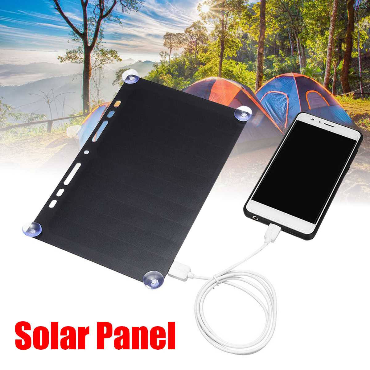Portable <font><b>Solar</b></font> Power Charging <font><b>Panel</b></font> <font><b>5V</b></font> <font><b>10W</b></font> USB Charger For Mobile Phone Tablet Frame Design for Traveling Camping Ultra Thin image