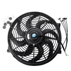Czarny uniwersalny grzejnik elektryczny Slim Fan Push/Pull 12V + zestaw montażowy (14 Cal)