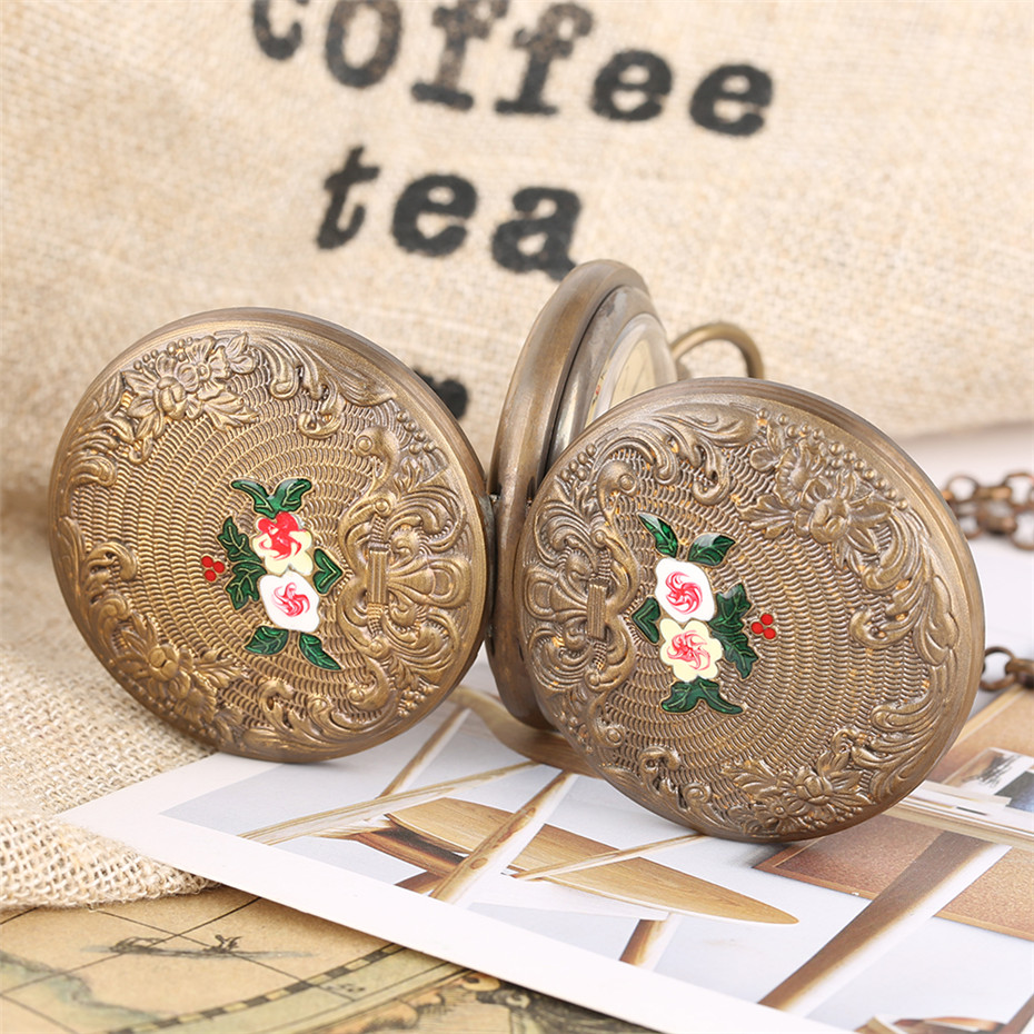 Купить с кэшбэком Mechanical Pocket Watch Tourbillon Automatic Self Winding Pendant Clock Retro Flowers Design Double Hunter Clock Unisex Gifts