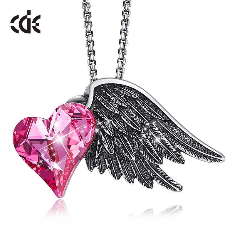 CDE Angel Wings Pendant Necklace For Women Embellished with crystals from Swarovski Heart Love  Necklace Chain Jewelry Collares